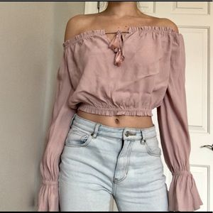 Forever 21 Bohemian Off the Shoulder crop.  Small